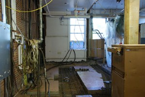 First floor classroom in Dryden Hall, currently being demolished to make way for a new state-of-the-art laboratory.