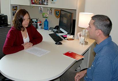 CVM admissions coordinator, MIchelle Waldron, advises a prospective student.