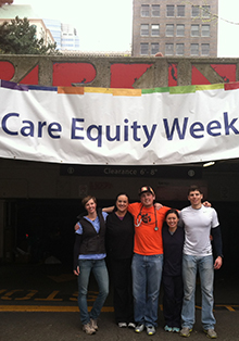 Kristina Raum, Caitlin McLagan, Jared Sharp and Jake Tidwell volunteered their Saturday to help homeless and low-income pets.