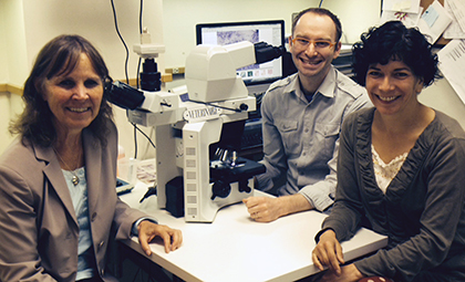 Cytology team at the Veterinary Diagnostic Laboratory: Dr. Sue Tornquist, Dr. Austin Viall, and Dr. Elena Gorman.