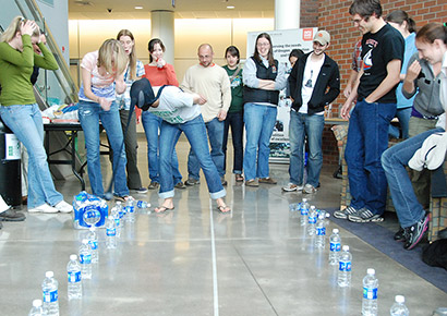 As part of the OLEADS leadership experience, students play 'Minute to Win It.'