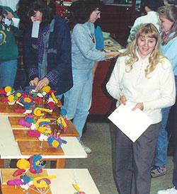 Dr. Linda Blythe judging a 1990s Build-A-Brain contest.