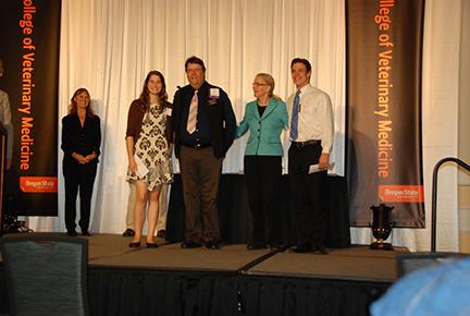 Oregon Veterinary Medical Association Memorial Scholarship- Morgan Damm, Mr. Glenn Kolb, Dr. Jean Hall, Andrew Cone