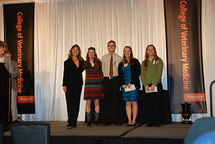 Pet Memorial Program Academic Excellence Award - Sue Tornquist, Devon England, Gary Jimmerson, Chantel Garino, Emily Mangan