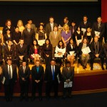 The 2012 MBA class photo on the stage following the MBA Graduation Celebration.