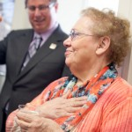 Pat Frishkoff reacts as it's announced the new AFBP director's office at AUstin Hall will be named in her honor.