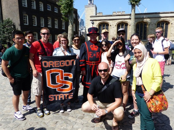 Oregon State College of Business Students Post with a Beefeater in London