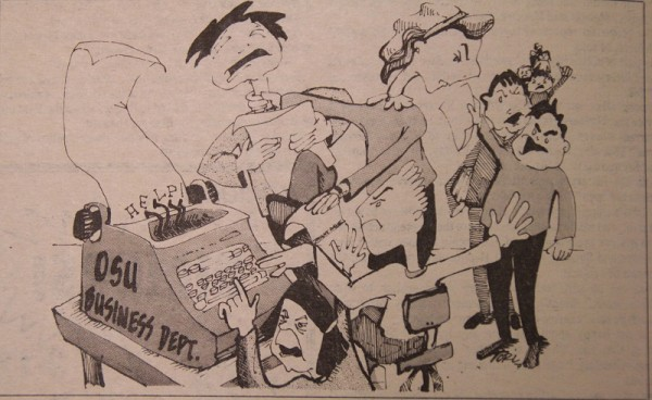 This editorial cartoon from the Barometer in 1981 depicts the growing pains experienced by the College of Business at the time.