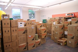 Boxes in Bexell Hall await the move to Austin Hall.