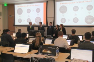 BA 466 students present in class. From left are Zachary Bergthold, Connor Howard, Nicholas Rector, Georgia Brown and Megan McGinty.