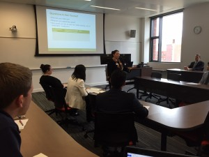 Michelle Scwhartz of Cambia Health Solutions gives students networking tips.