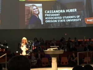 Oregon State's student body president was among the speakers.