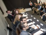 Tyler Kluempke, far left, joined other students for a panel discussion last winter to talk about internships.