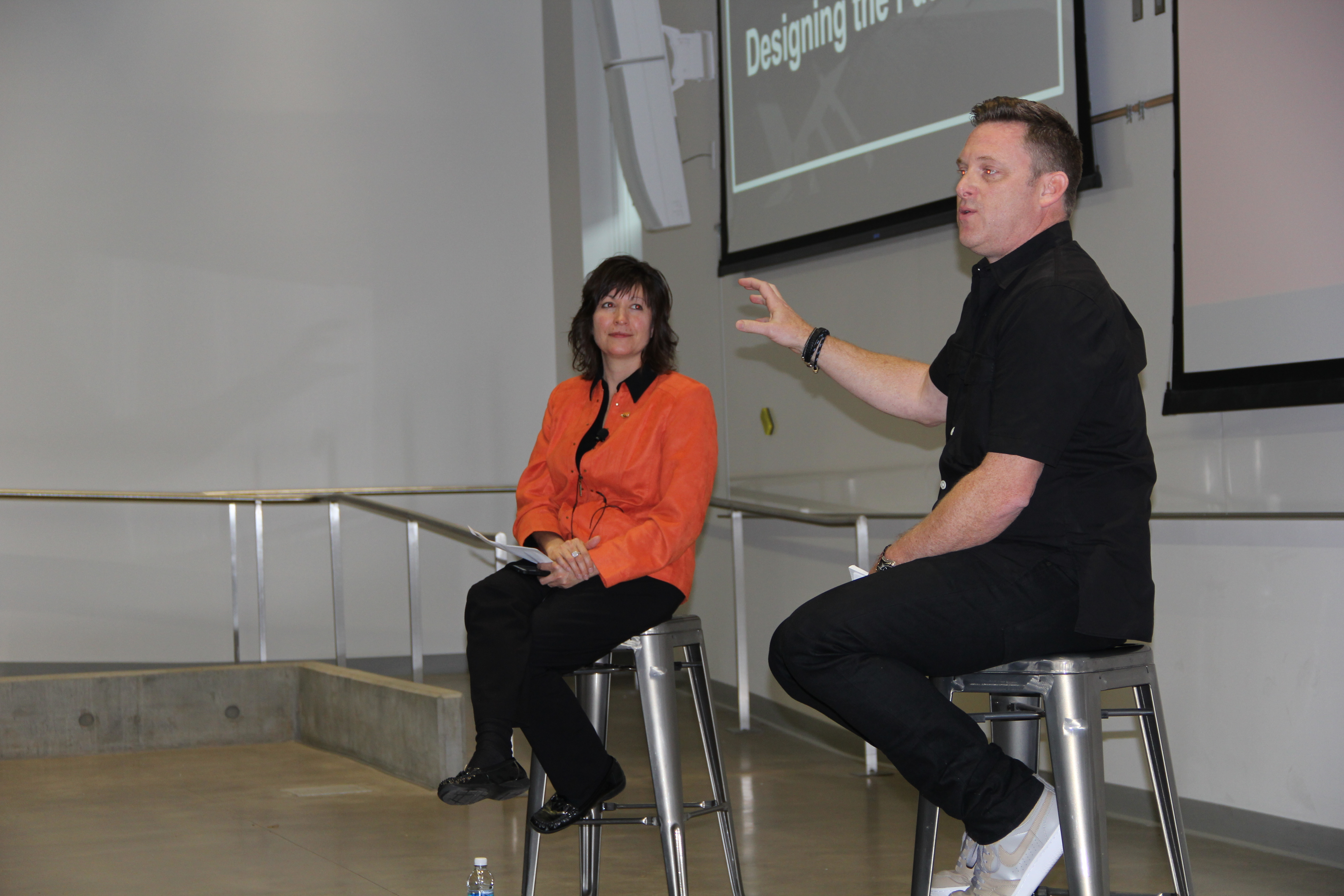Ken Black fields questions from Sara Hart Kimball Dean Mitzi Montoya during his May 19 Dean's Distinguished Lecture.