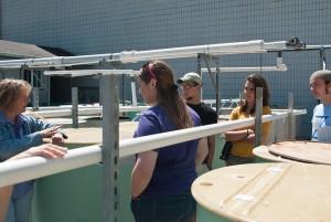 Dr. Jerri Bartholomew explains fish disease lab's work