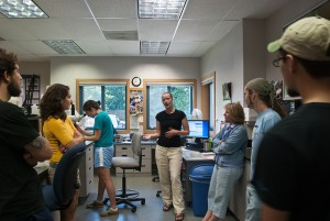 Meeting graduate assistants at OSU Fish Disease Lab