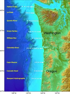 Transect map of fish collection sites for annual juvenile salmon sampling program