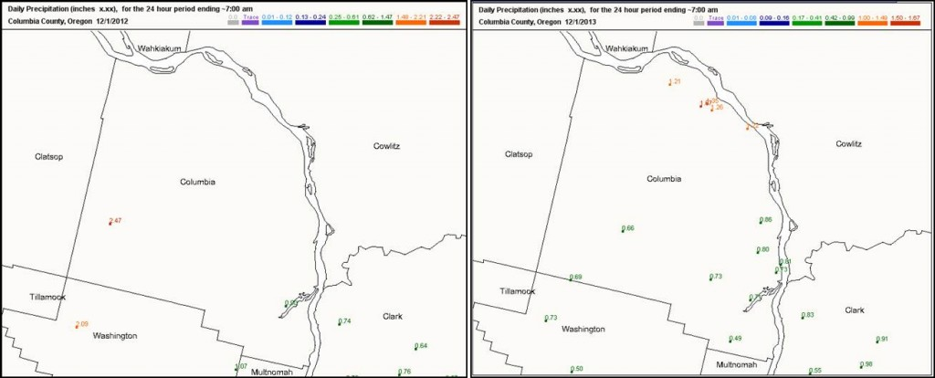 Columbia County CoCoRaHS observations from Dec. 1, 2012 (left) and Dec. 1, 2013 (right). Note how many more stations are on the map! And the range of rainfall across the region.