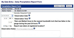 Recording rainfall on the CoCoRaHS website is easy.