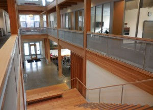 Abundant display of architectural wood gives OSU's Hallie Ford Center an inviting feel.
