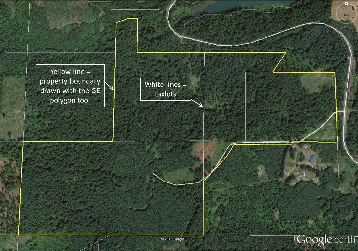 Maps With Property Lines Mapping your forest with Google Earth and a GPS phone app   TreeTopics Maps With Property Lines