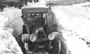 Crater Lake snowpack in July circa 1915. Photo credit: TheOldMotor.com
