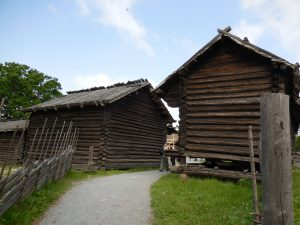 Old traditional buildings at Skansen
