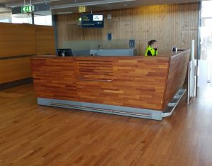 Smaller wood furnishing and finish elements abound in the airport