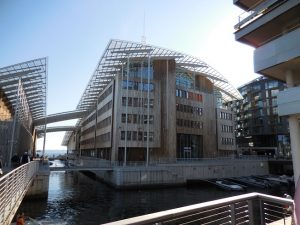 A building on the Oslo waterfront are sided with wood prepared by the Svenneby mill.