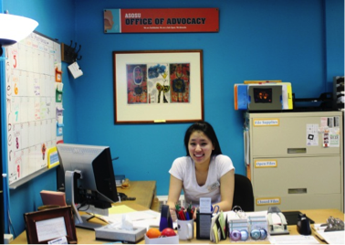 ASOSU Advocacy Intern, Fiona Bai, working at the office.