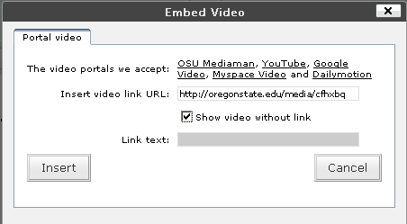Embed Video Form