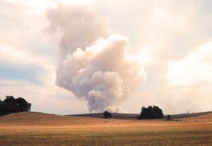 Fig. 1.  Smoke plume from open-field burning in Oregon's Willamette Valley.