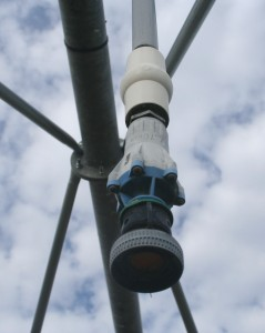 Sprinkler on linear irrigation system (TG Chastain photo)
