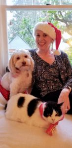 Kay Sagmiller with her dog, Phrayne, and cat, Bella
