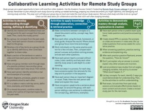 Collaborative Lerning Activities for Remote Study Groups