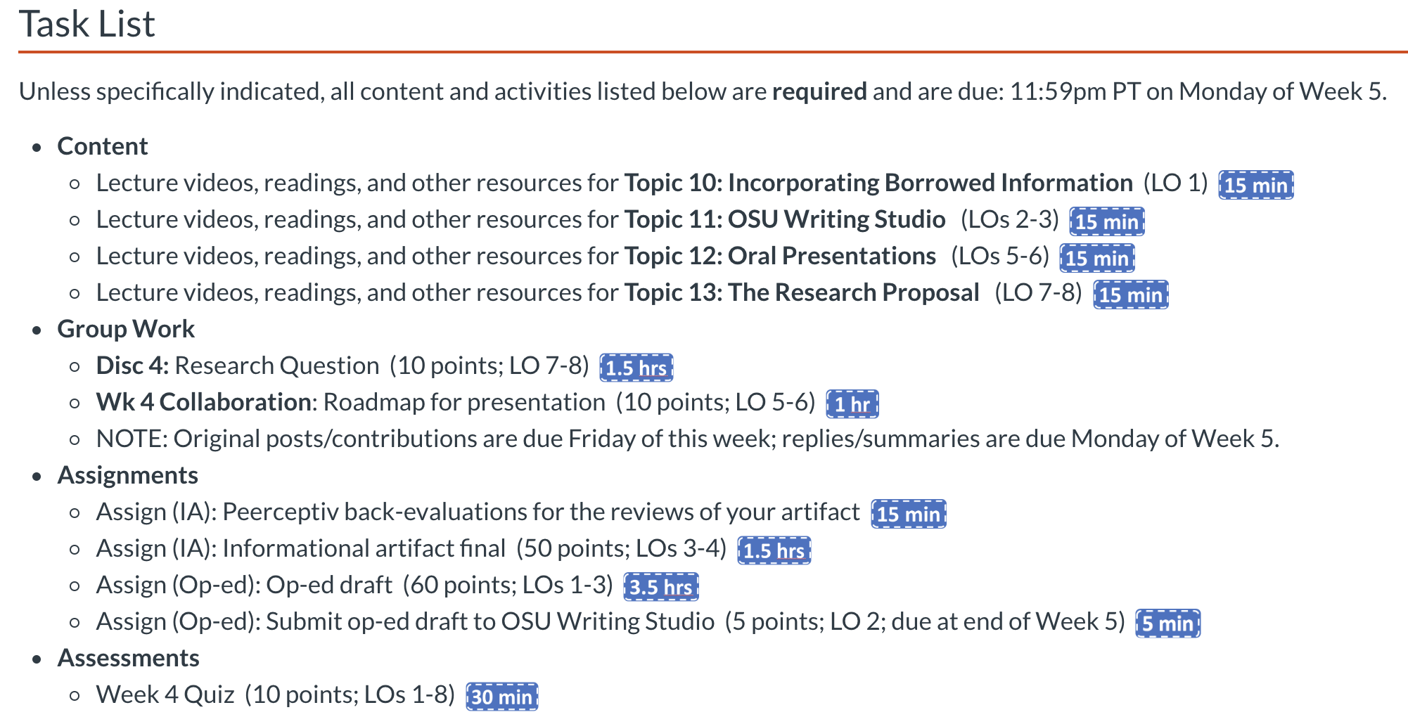Task list for students with the estimated time to complete each item