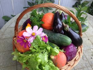 Basket of vegetable and flowers