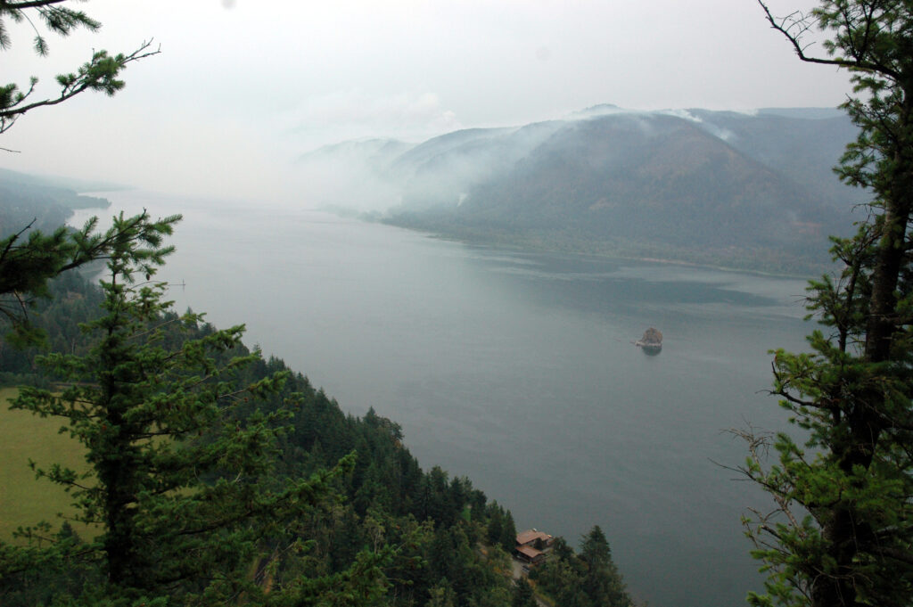 View of the Columbia River Gorge, with haze caused from forest fire.