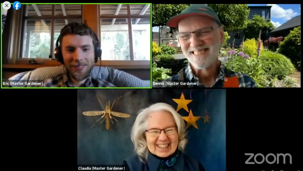 Screen shot of Zoom presentation with three smiling faces of presenters.