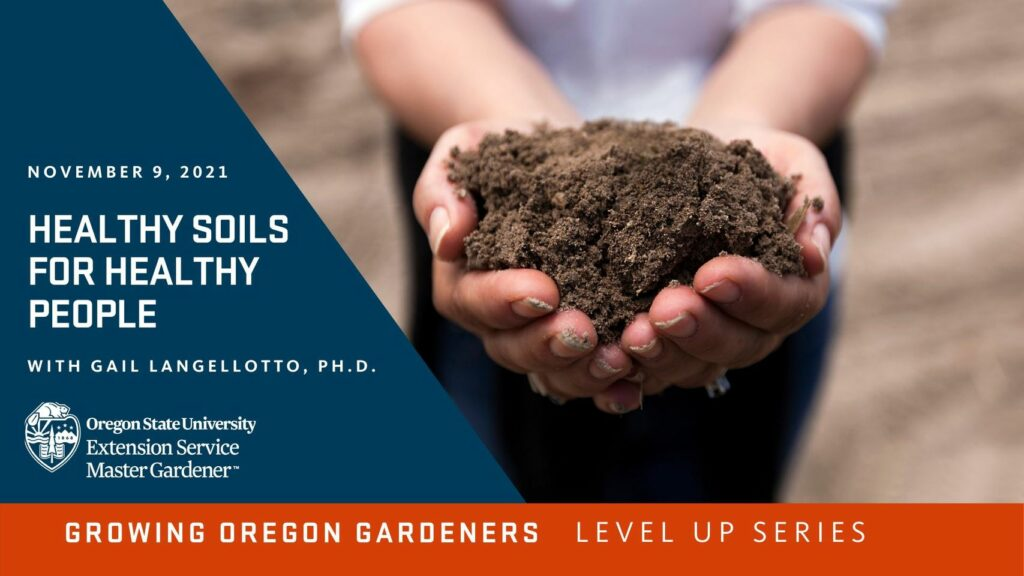 Promotional graphic for Healthy Soils for Healthy People. Hands outreached holding soil.