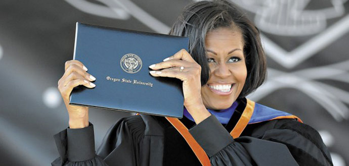 First Lady Michelle Obama receives honorary doctorate in public health