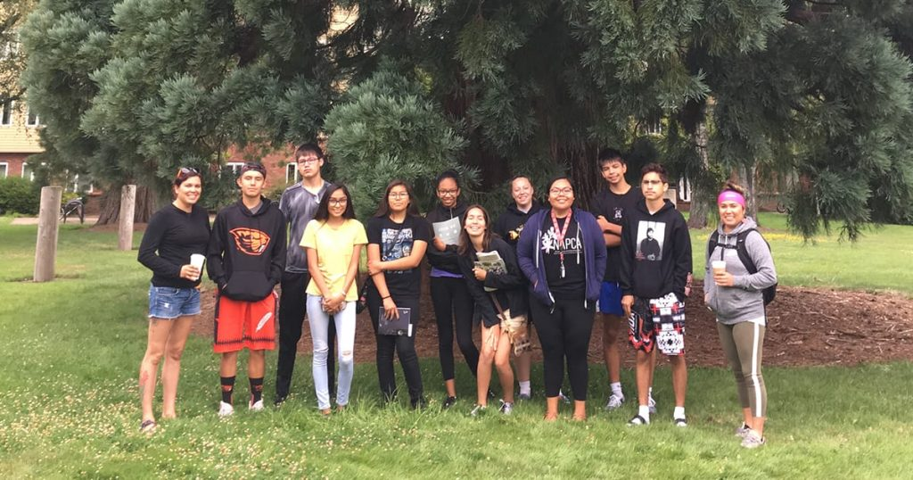 group of high school students on campus tour