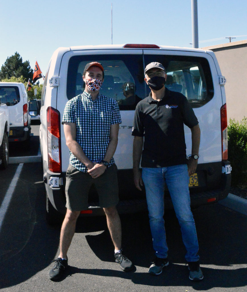 Javier and Joe pose for photo while conducting TRACE testing in Hermiston
