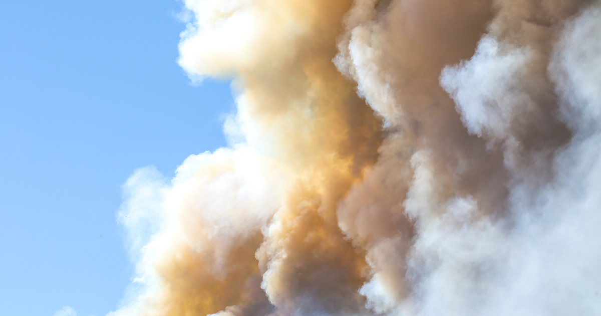 smoke in clouds from natural disaster