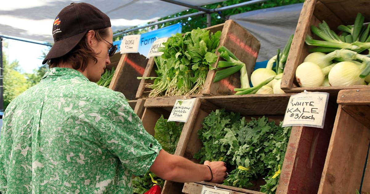 man selects arugula, vegetables while shopping at farmers market