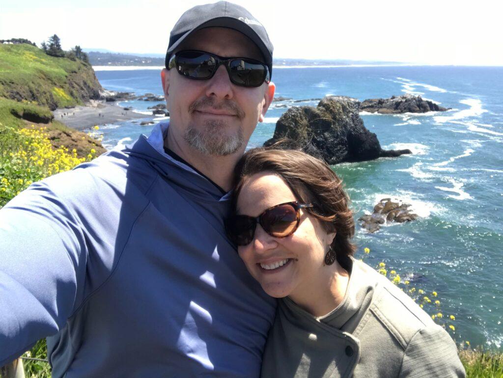 couple taking selfie on Oregon Coast