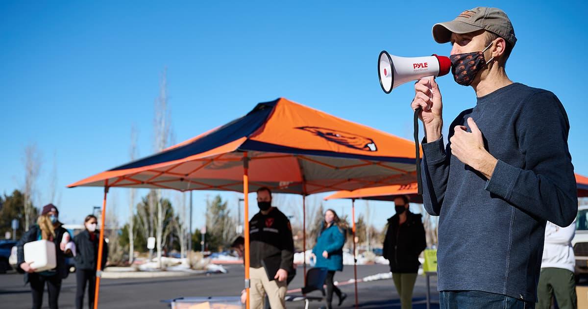 Jeff Bethel speaking in megaphone