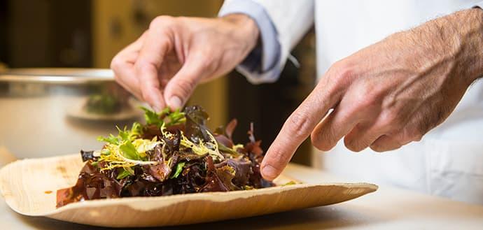 preparing a salad