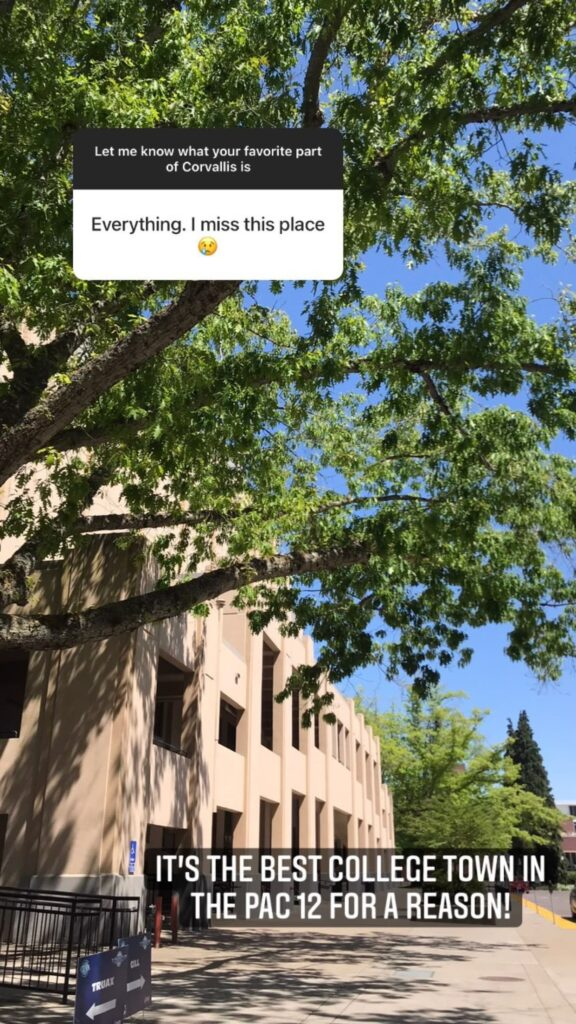 Instagram story where an answer reads 'Everything. I miss this place.' on Ellie's Corvallis spots questions