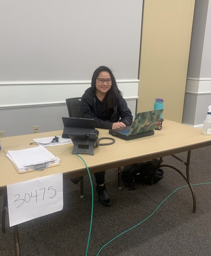 Marissa Song Mayeda working as a contact tracer during the early days of the COVID-19 pandemic